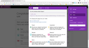 OneNote using web clipper