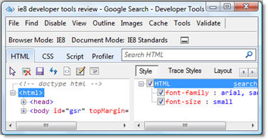 IE Developer Tools